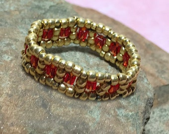 Red - Gold Colored Beadwork Ring