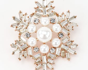Gold Tone Pearl Snowflake Brooch, Rhinestone Silver Snowflake Pin, Bouquet Cake Sash Brooch, Bridal Brooch,Rhinestone Snowflake Brooch.