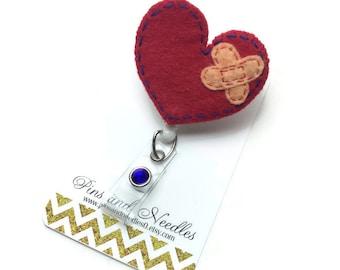 Cardiologist ID Badge Reel - Retractable Badge Reel - Badge Holder - CHD Id Badge Reel - Doctor Gifts - Broken Heart ID Badge Reel
