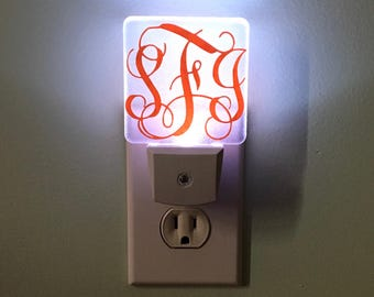 Monogrammed Night Light-Personalized Night Light-Night Light-Shower Gift-Dorm Decor-Home Decor-House Warming Gift
