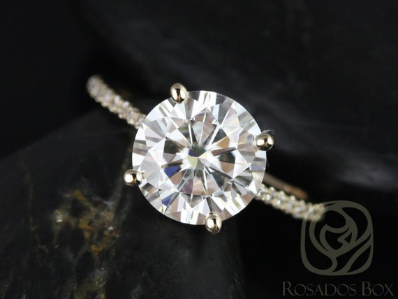 Rosados Box Eloise 9mm 14kt Yellow Gold Round F1- Moissanite and Diamonds Cathedral Engagement Ring