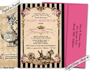 Alice In Wonderland Baby Shower Invitation Printable Mad Hatter Tea Party Invitations