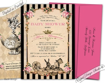 Alice in wonderland baby shower invitation printable/Alice in wonderland baby shower/Mad hatter tea party invitations/Mad hatter baby shower