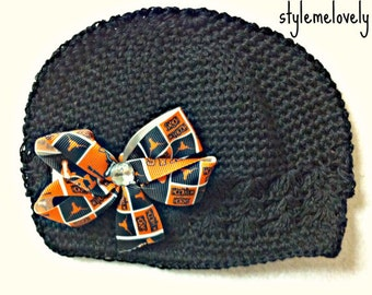 Texas Longhorns Baby Girl boutique Bow Crocheted Hat