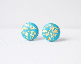 Round studs Turquoise gold stud earrings geometric studs turquoise post earrings gold and blue studs turquoise blue post minimalist earrings
