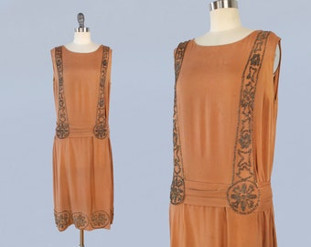 1920s Dress / 20s Caramel Silk Crepe BEADED Dress