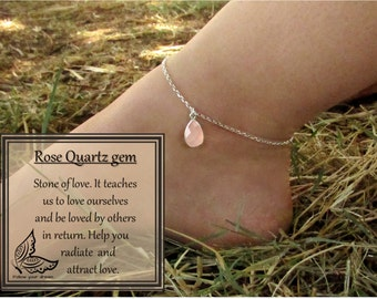 Beach Boho Silver Stone Chain Anklet Rose Quartz Foot Jewelry Bracelet Anklet Crystal Stone Anklet For Women Foot Bracelet FREE SHIPPING