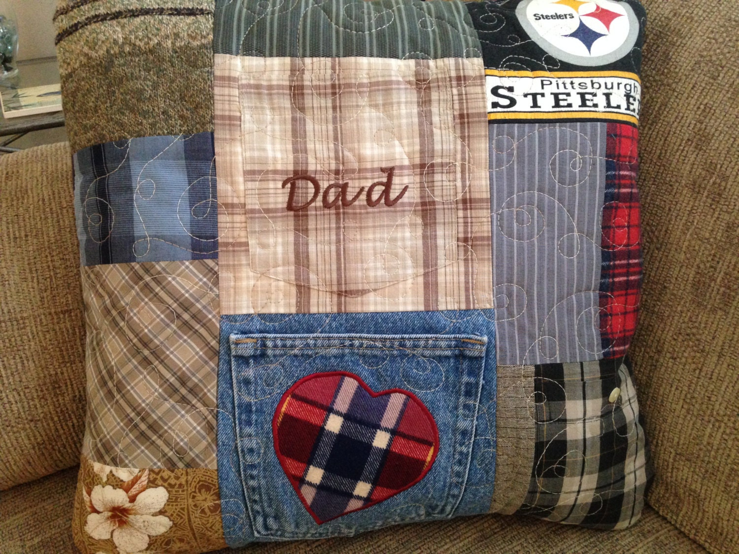 Dad's Favorite T-shirts. Memory Pillow. Flannels & Dress