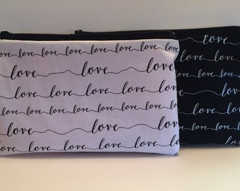 Love written (Lg) , zipper pouch, pouch, pencil pouch, makeup organizer, girlfriend gift, gifts for him, gift for her, love letter pouch