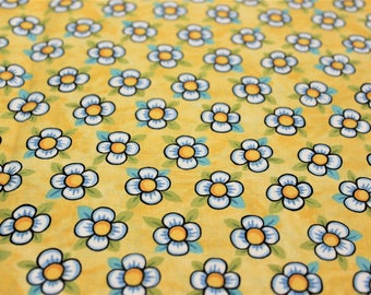 BOHEMIA Flowers on Yellow Fabric By Julie Paschkis For In The Beginning Fabrics - By The Half Yard