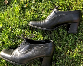 vintage black chunky heel oxfords 7.5