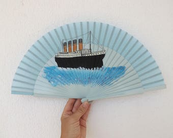 Titanic Hand Fan SALE End of Design Clearance by Kate Dengra Ready to Ship Spanish Hand Held Fan