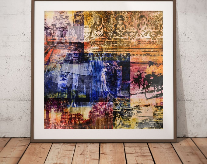 Cambodia Mixed Media XII by Sven Pfrommer - Artwork is ready to hang with a solid wooden frame