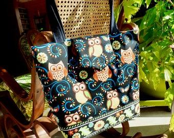 Shoulder bag, Shopping bag, cotton, suede, owls pattern