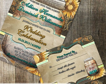 Rustic Mason Jar Sunflower Wedding Invitation & rsvp Stationery | DIY Printable wedding invite | Rustic Wood Elements and Yellow Sunflowers