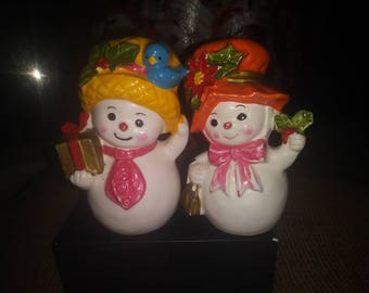 Set 2 Napcoware Snowmen set vintage