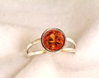 8mm Round 2.6 Carat Padparadsha Sapphire Argentium Split Shank Handmade Ring, Orange Sapphire Ring