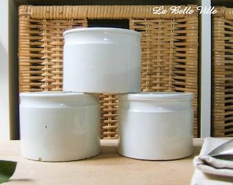 Set of 3 antique French ironstone preserve jars - Vintage pate jars - 1800s Creil et Montereau- Storage or preserving glazed pot