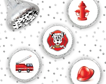 Fireman Party Stickers for Hershey Kisses - Firefighter Party Favors - Firetruck Boy Birthday Party Envelope Seals - 324 Count