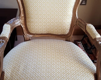Gold French BOUDOIR CHAIR. Antique Newly upholstered with Gold/lemon fabric. Fabulous!