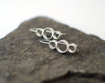Modern Geometric Earrings, Sterling Silver Drop Earrings, Three Circle Earrings, Modern Geometric Jewelry, Karolin Earrings