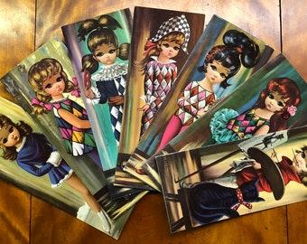 7 Eden Big Eyed Girl Lithographs,  1964 Soroka Sales Inc., 1960's Big Eyed Kids Litho Prints On Cardboard, Vintage Big Eyed Girls By Eden