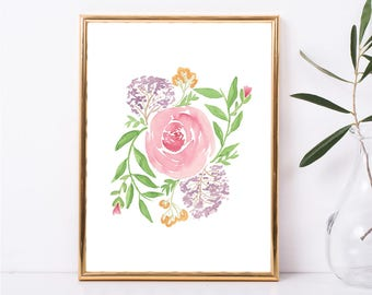 Instant Download, Watercolor Painting, Watercolor Picture Roses Art Print, Floral Art Print, Watercolor Art, Rose Picture, Rose Art
