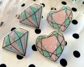 Pastel Acrylic Glitter Resin Gem Earrings, Laser Cut Acrylic, Plastic Jewelry, Diamonds or Hearts