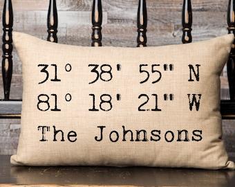 Personalized GPS Coordinate Pillow, Latitude Longitude Pillow, Location Pillow, Coordinates GPS Wedding Gift, Housewarming GPS