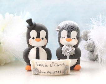 Unique Anniversary Penguin cake toppers - Vow renewal - cute bride groom figurines silver anniversary gift gold animals vintage birdcage