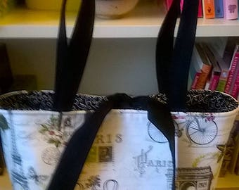 Handcrafted, Paris with a touch of Pink 1, handbag, knitting bag, purse