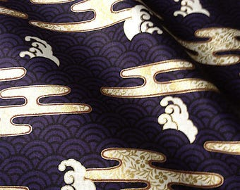 Japanese fabric, traditional pattern, background vioet, cotton 110 x 50 (268A)