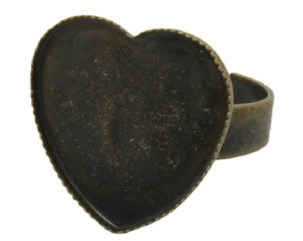 6 x Antique Bronze Love Heart Cabochon - Adjustable Ring Bases Blanks -17mm Cap/Pad - RING 12