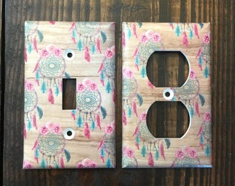 Dream Catcher Light Switch And Outlet Covers | Boho - Set of 4 - Shabby Chic - Feather Decor - Feathers - Nursery Decor - Wood Grain - Art