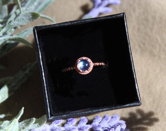 Dainty Petite Ring in White Gold Vermeil or Rose Gold vermeil, Genuine Moonstone