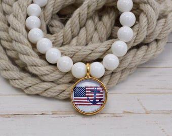 Women's Nautical SemiPrecious Beaded Charm Bracelet - Nautical American Flag