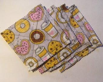 Coffee & donuts flannel coasters, set of 4