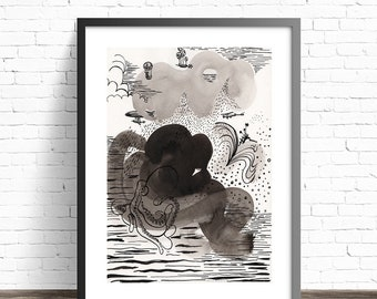 Black and White Abstract print. Ink painting. Pen and Ink Drawing. Modern abstract art print. Black and white art prints. Modern wall art