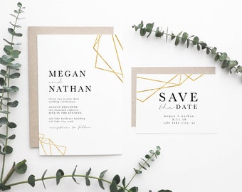 Modern Wedding Invitation | Simple Wedding Invitation and Save The Date