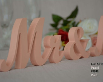 Peach Mr & Mrs Wedding Signs, Mr and Mrs Wood Wedding Decoration