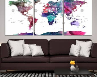 Large Watercolor Push Pin World Map Canvas Print -Watercolor World Map with Antarctica and Country Names, Extra Large Wall Art Canvas Print