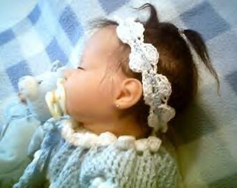 0010 BabyGirl Scalloped Headband,Baby Headband in Four Sizes,Scrap Lovers Pattern by CarussDesignZ