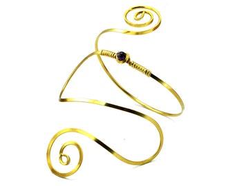 Upper Arm Cuff, Brass Armband, Gold Armlet, Wire Cuff, Arm Band, Spiral Upper Cuff, Arm Bangle, Egyptian Arm Band, Upper Cuff Bangle