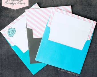 Printed Matching Envelope Liner | A2 Sized Liner | Floral Wedding Liner | Striped Liner | Unique Way To Ask Your Best Friend | Pretty