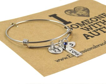 I Love Someone With Autism Awareness Bangle - Hand Stamped Bracelet - Handstamped Jewelry - Inspirational Jewelry - Expressions Bracelets