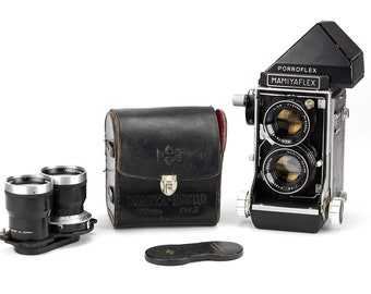 Retro 1958 Mamiyaflex Porroflex Professional Medium-Format Camera w/ Two Sekor Lenses – WORKING Display & Collector Piece