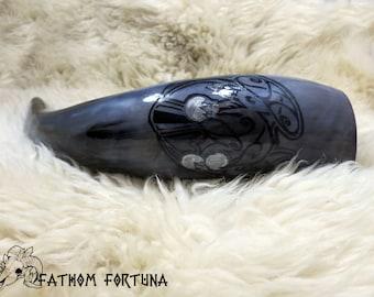 15oz gris & noir Corbeau avec les pièces en corne à boire avec étui en cuir