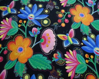 "Cotton fabric printed with ""flowers"" pattern"