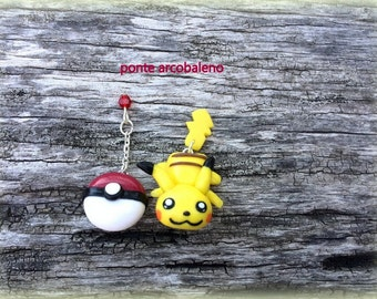 Pikachu Earrings/ fan art Pokémon/ polymer clay/ handmade/ stud earrings/ gift/ for her/ jewelry