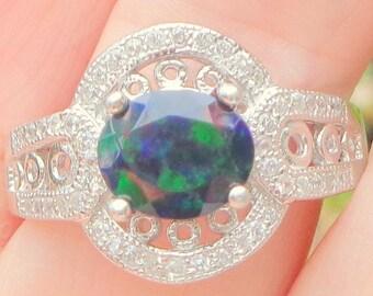 Sz 9,Black Opal Ring,Welo Opal Rings,Natural Gemstone Ring,Ethiopian Opal Jewelry,White Sapphire Setting,Fashion Jewelry,Mystical Gem Ring
